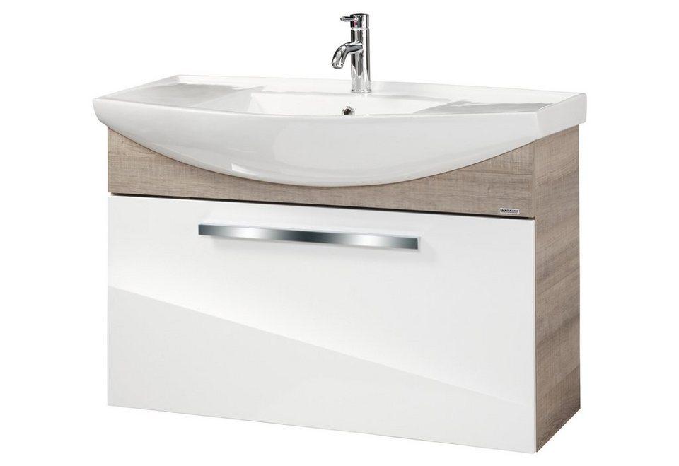 Waschtisch »A-Vero«, Breite 102 cm, (2-tlg.) in weiß/eichefarben grau