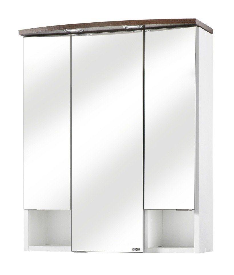Spiegelschrank »Neapel« Breite 60 cm, mit Beleuchtung in wengefarben/weiß