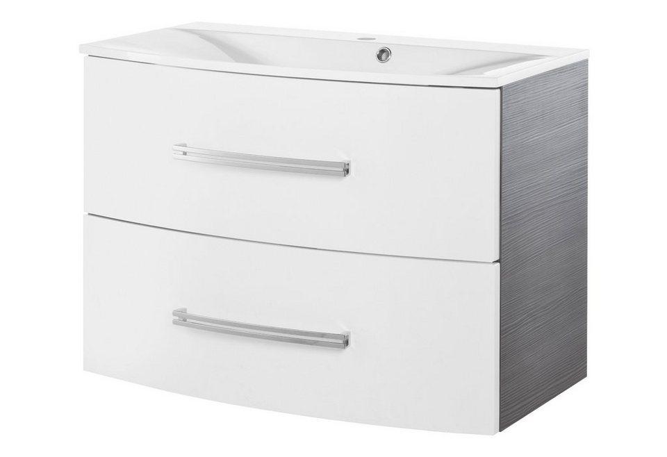 Fackelmann Waschtisch »Lugano«, Breite 80 cm in piniefarben anthrazit/weiß