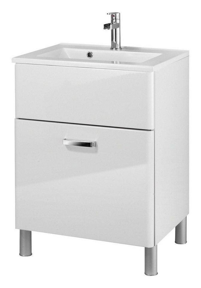 Mineralgussmarmor Waschtisch / Waschbecken »Mailand«, 60 cm, inkl. Unterschrank in weiß x weiß