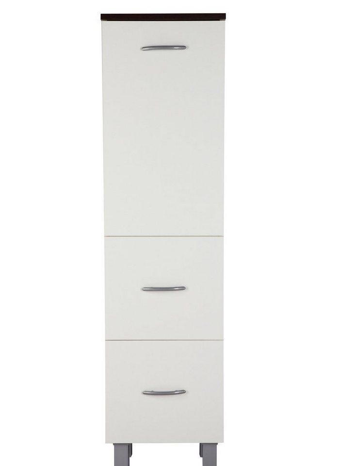 Midischrank »Venedig« 33 cm in weiß/wengefarben