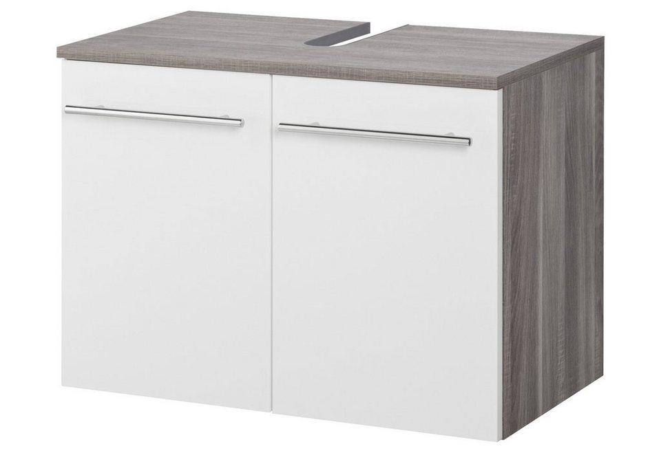 SCHILDMEYER Waschbeckenunterschrank »Calla«, Breite 65 cm in weiß/eichefarben trüffel