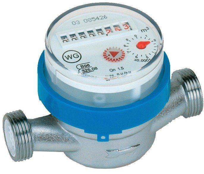 Sanitärarmaturenzubehör, Wohnungswasserzähler in silberfarben