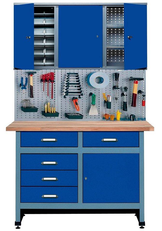 Werkbank »Set 1,20 m, utramarinblau, in verschiedenen Höhen« in blau
