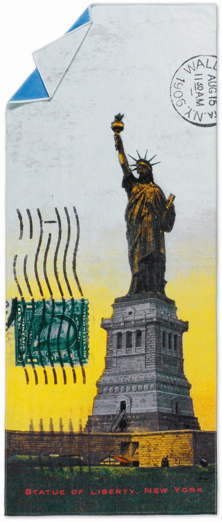 Strandtuch, Möve, »Freiheitsstatue«, in Postkarten-Optik