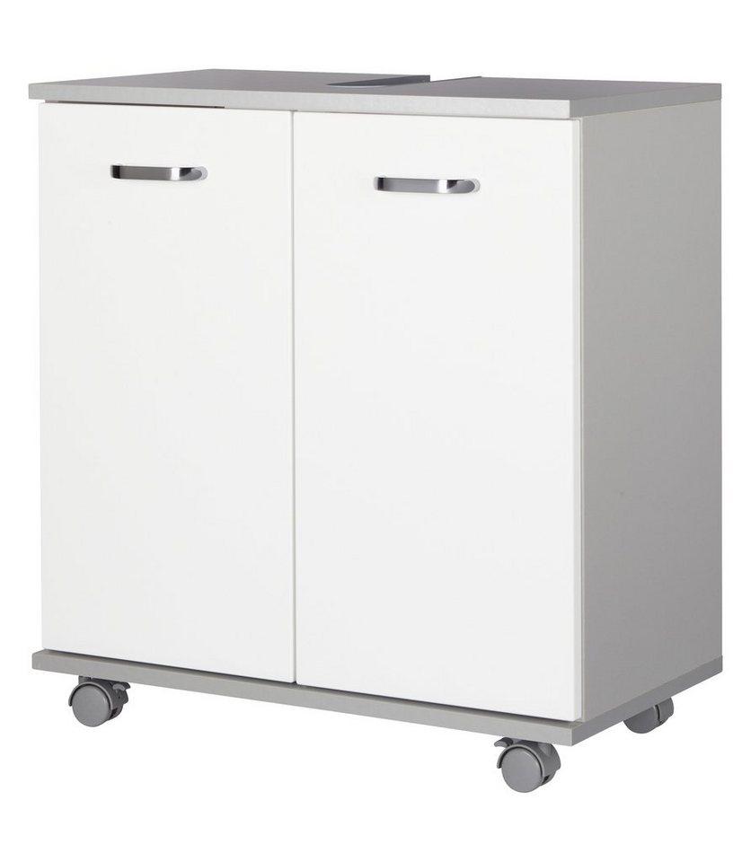 Waschbeckenunterschrank »Dallas« in weiß/silberfarben