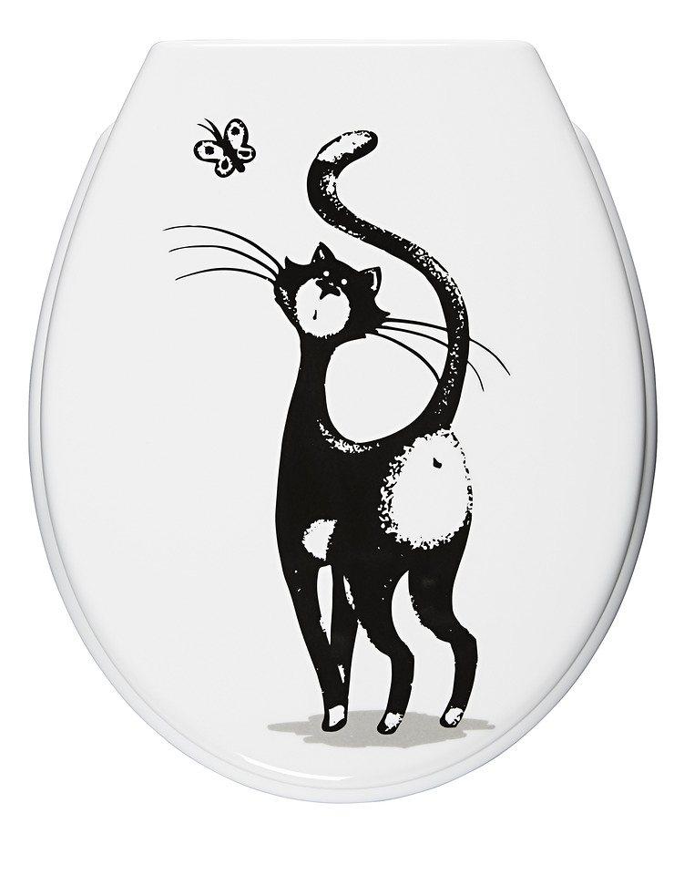 WC-Sitz »Katze«, Mit Absenkautomatik in schwarz