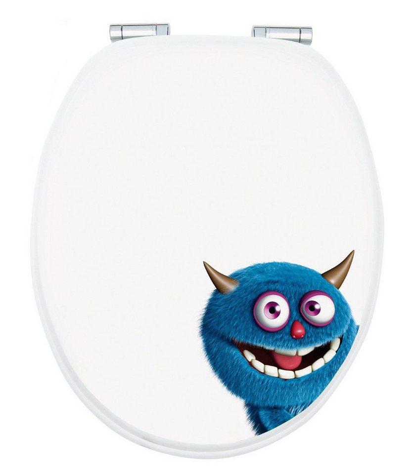 WC-Sitz »Monster Ecky«, Mit Absenkautomatik in blau/weiß