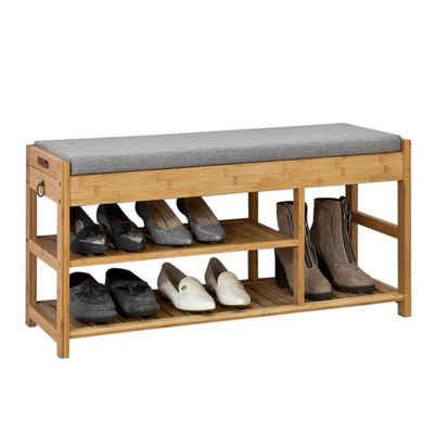 SoBuy Sitzbank »FSR47«, Schuhbank mit Sitzfläche und Schubladen Bambus