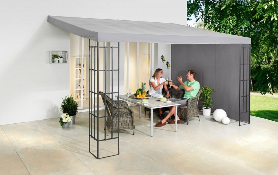 komplett set anbaupergola modern 3x4m inkl seitenteile. Black Bedroom Furniture Sets. Home Design Ideas