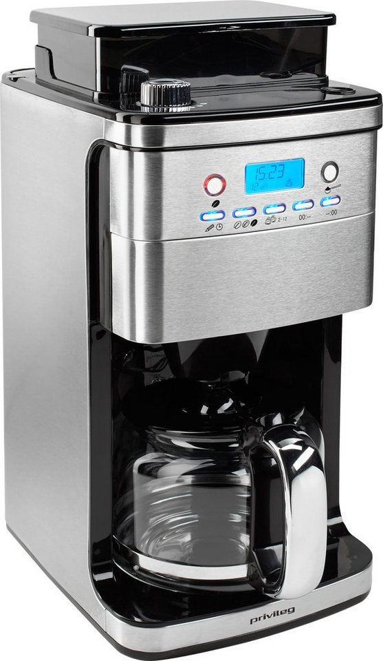 privileg kaffeemaschine mit mahlwerk cm4266 a 1 5l kaffeekanne permanentfilter 1x4 f r ganze