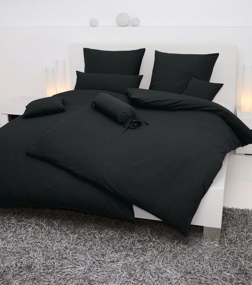 Bettwäsche, Janine, »Piano«, einfarbig gehalten in schwarz