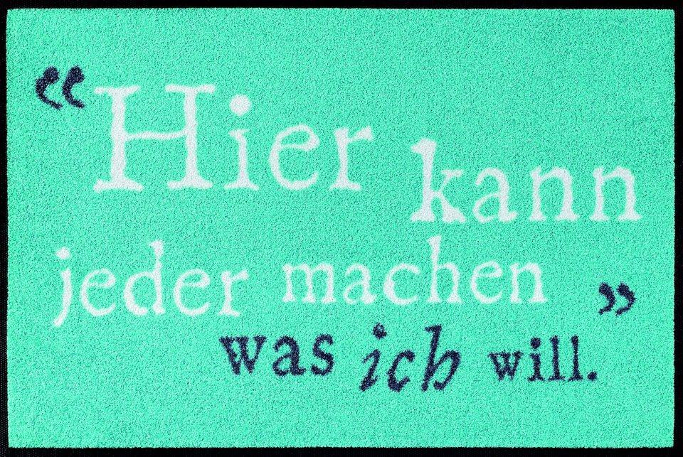 Fußmatte »Was ich will«, wash+dry by Kleen-Tex, rechteckig, Höhe 7 mm in türkis-weiß
