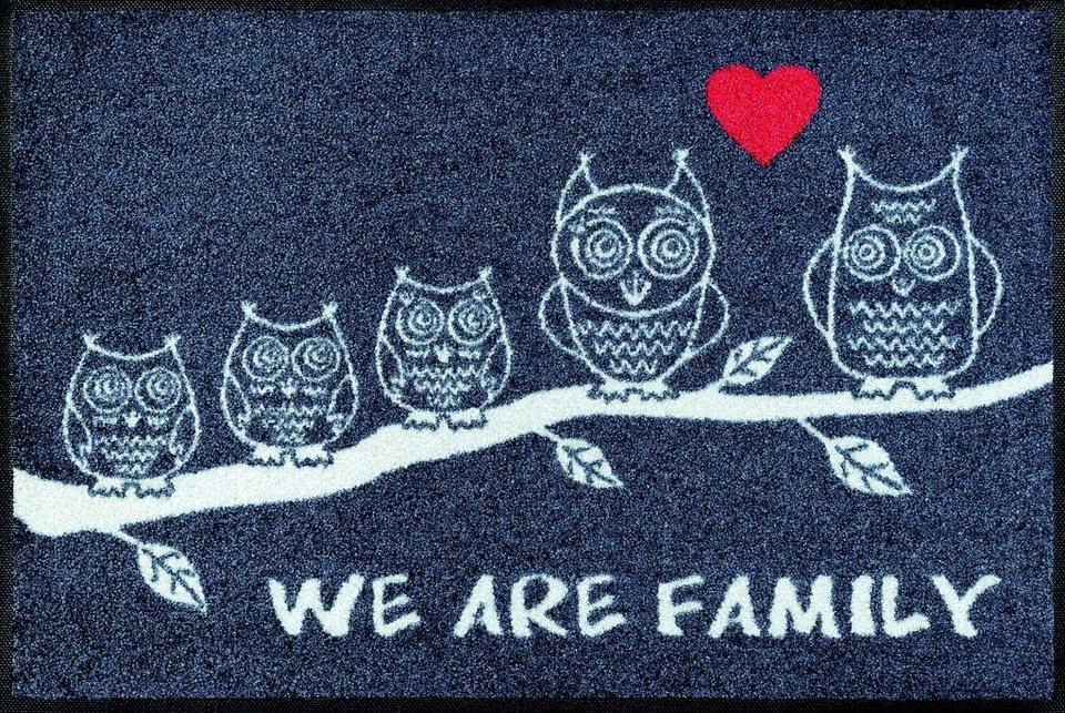 Fußmatte, wash+dry by Kleen-Tex, »We are Family«, rutschhemmend beschichtet in grau-weiß