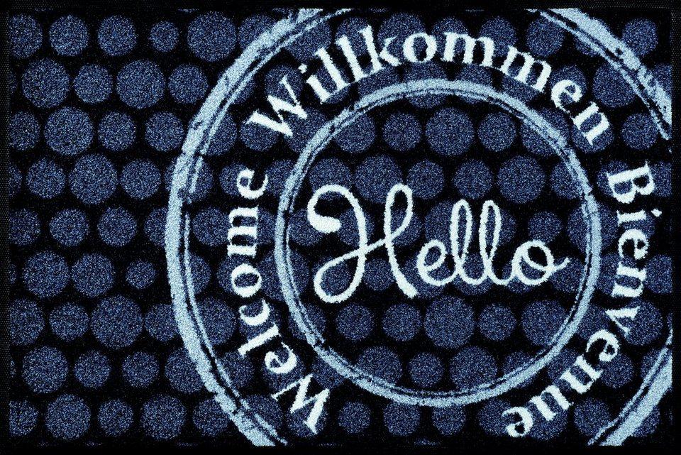 Fußmatte »Welcome Stamp«, wash+dry by Kleen-Tex, rechteckig, Höhe 7 mm in grau-weiß