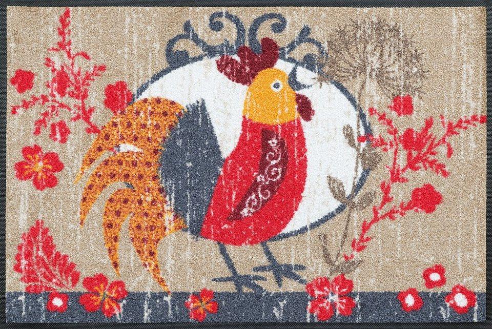 Fußmatte, wash+dry by Kleen-Tex, »Kikeriki«, rutschhemmend beschichtet in multicolor