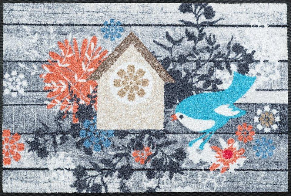 Fußmatte, wash+dry by Kleen-Tex, »Birdies House«, rutschhemmend beschichtet in multicolor