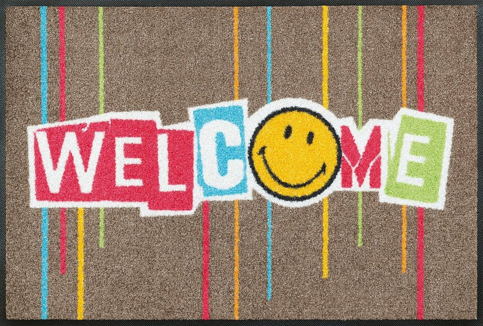 Fußmatte »Smiley Welcome Stripes«, WASH + DRY BY KLEEN-TEX, rechteckig, Höhe 7 mm in taupe