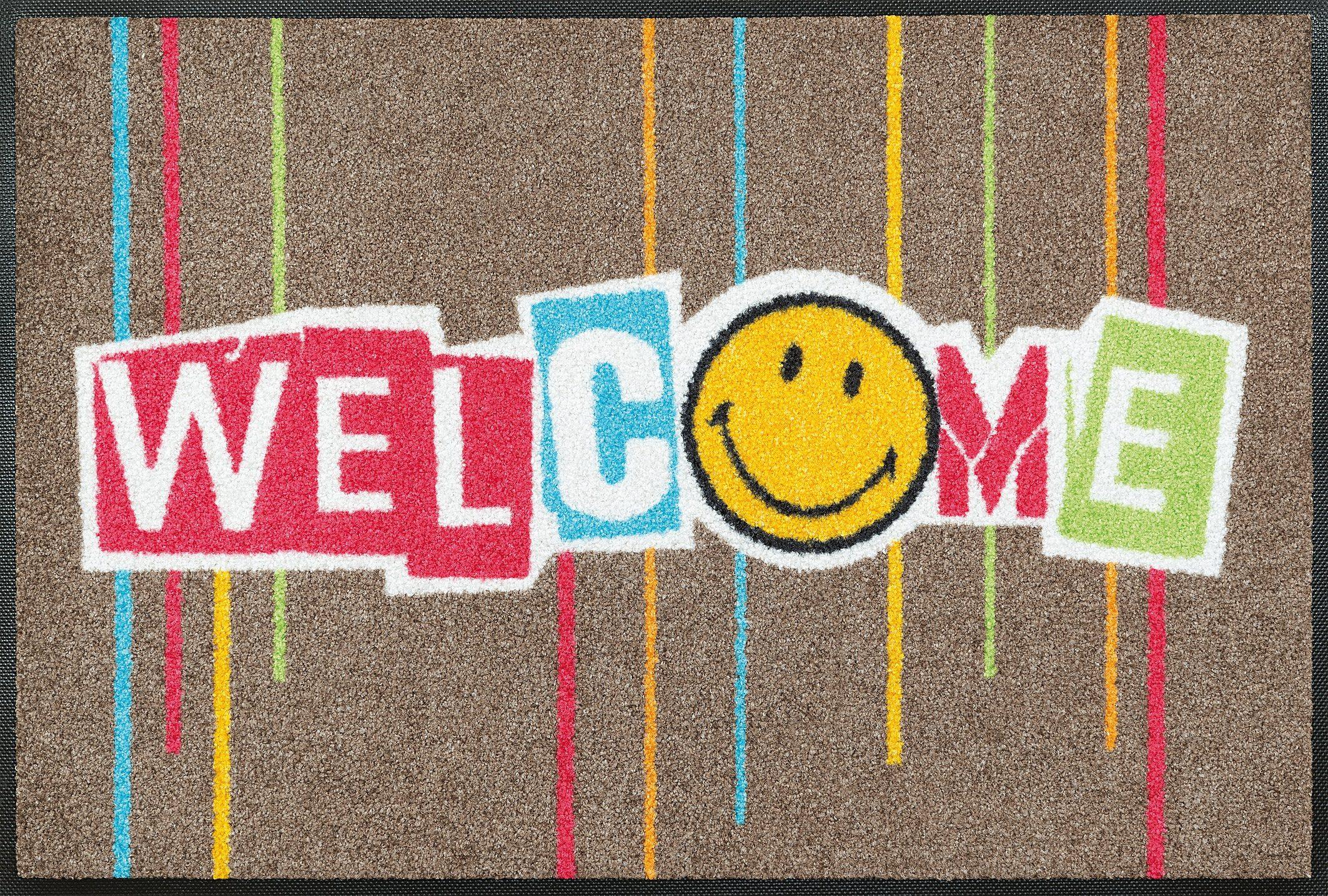 Fußmatte »Smiley Welcome Stripes«, wash+dry by Kleen-Tex, rechteckig, Höhe 7 mm