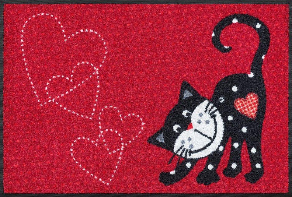 Fußmatte, wash+dry by Kleen-Tex, »Romeo in Love«, rutschhemmend beschichtet in rot-schwarz