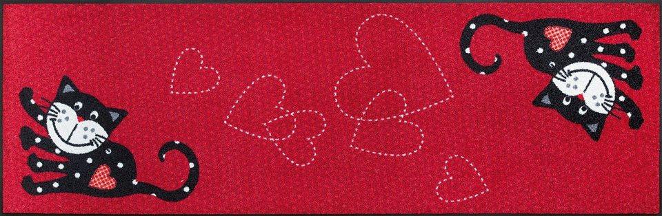 Läufer »Romeo in Love«, wash+dry by Kleen-Tex, rechteckig, Höhe 7 mm in rot-schwarz