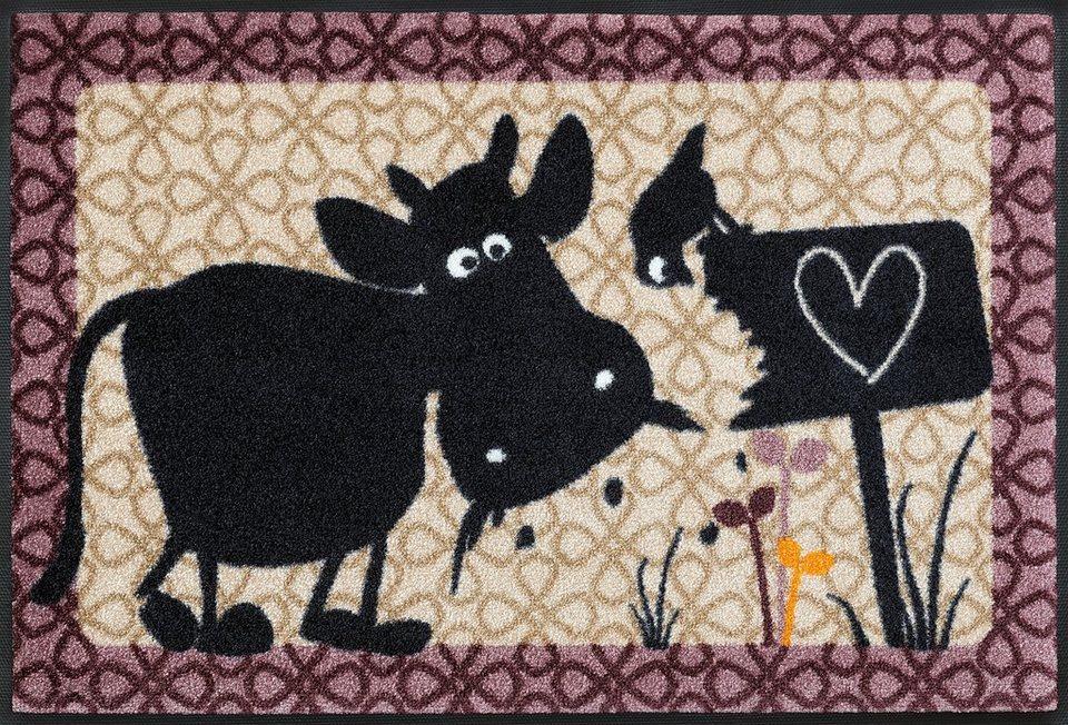 Fußmatte »Kuh Erika & Fred«, wash+dry by Kleen-Tex, rechteckig, Höhe 7 mm in beige-lila