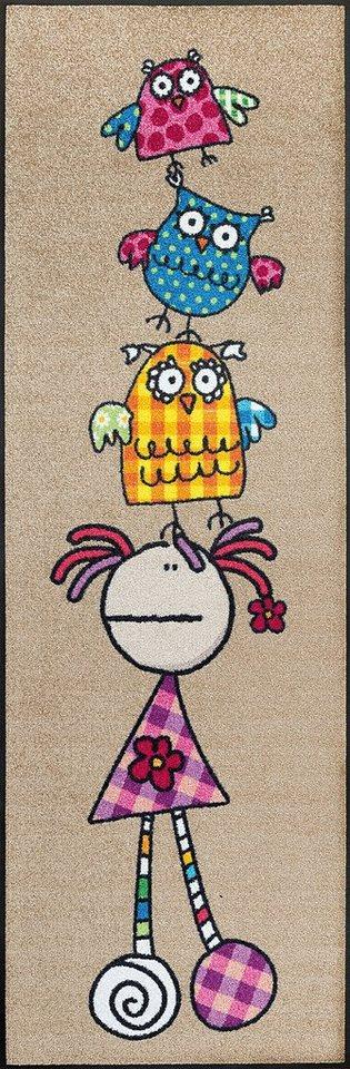 Läufer »Fulanitos Floripondia & Owls«, wash+dry by Kleen-Tex, rechteckig, Höhe 7 mm in bunt