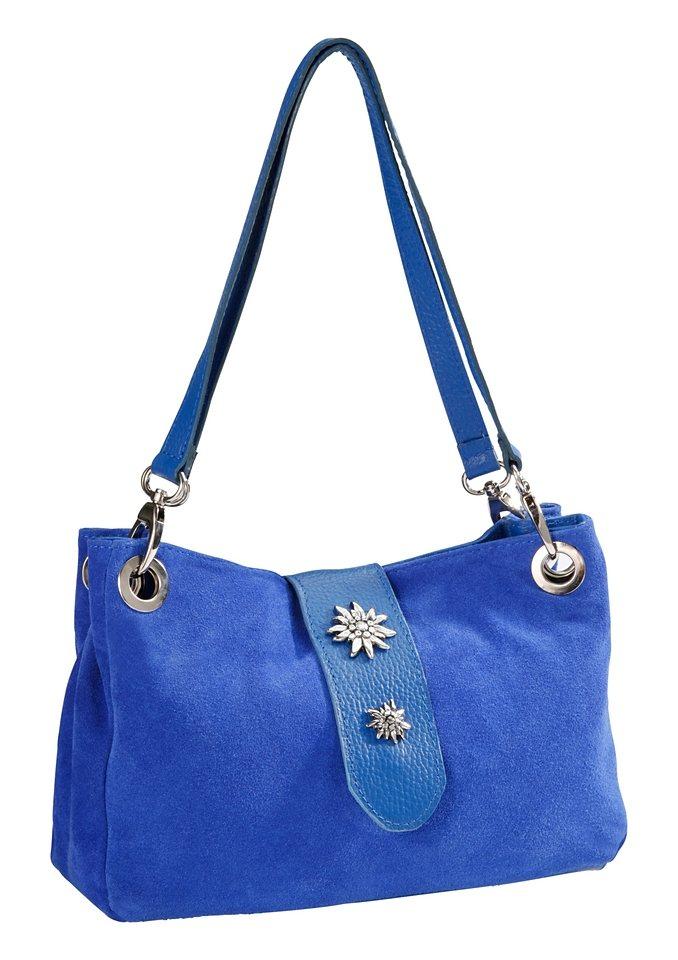 Trachtentasche mit Edelweißmotiv, Klimm in royalblau