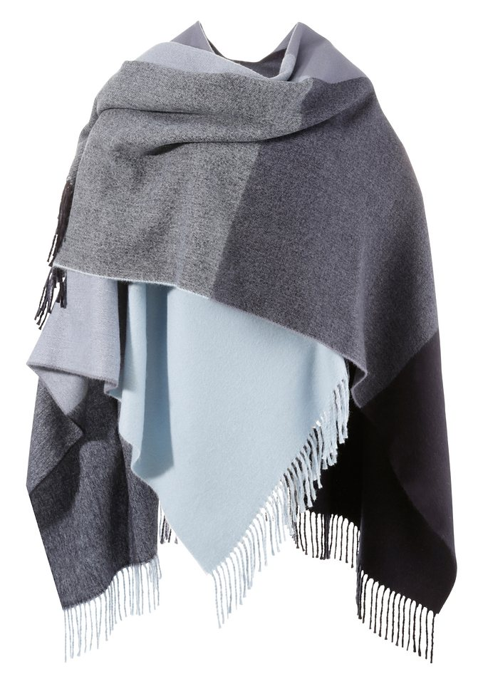 Poncho in Karodesign in blau