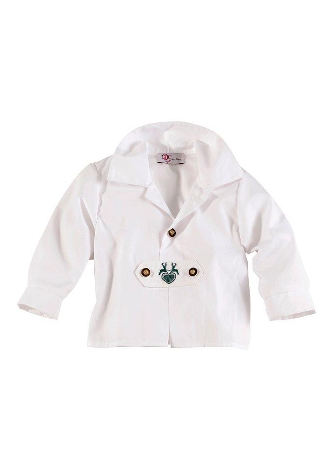 Baby Trachtenhemd mit Stickerei, Turi Landhaus in weiss