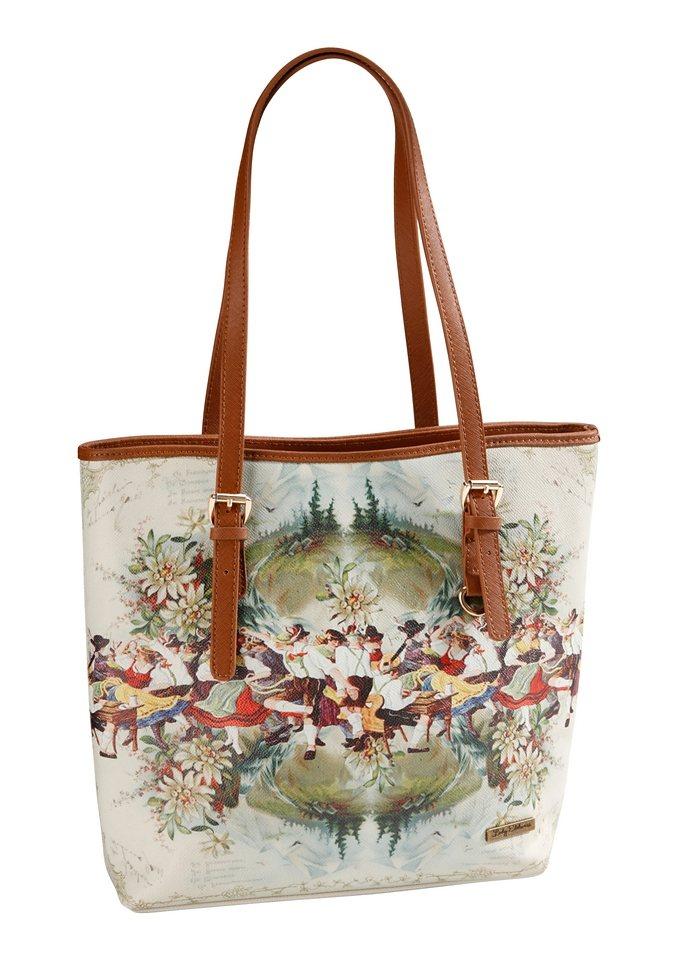 Trachtentasche mit Aufdruck, Lady Edelweiss in beige