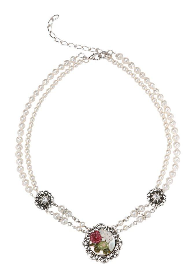 Trachtenkette mit Perlen in weiss