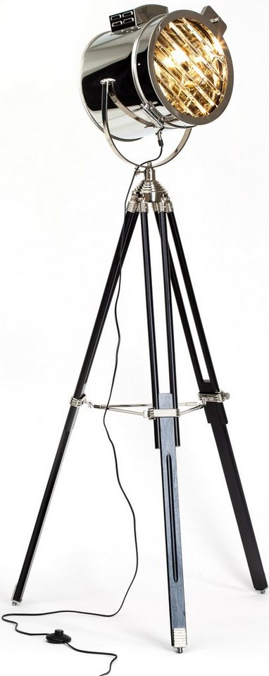 Stehleuchte, Brilliant, 1 flammig in Dreibein schwarz, Schirm chromfarben