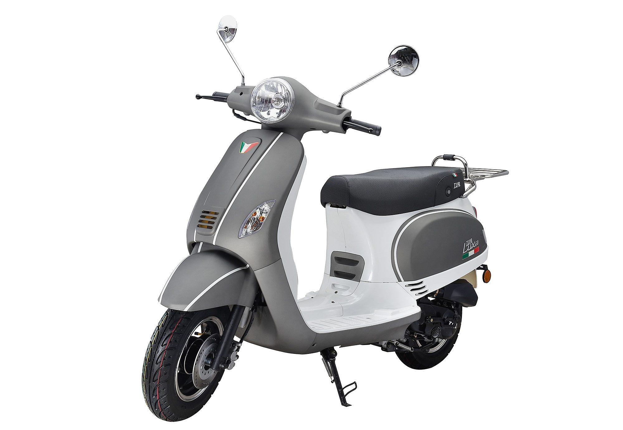 Motorroller, 50 ccm, 3 PS, 45 km/h, für 2 Personen, grau-weiss, »LUX«, IVA