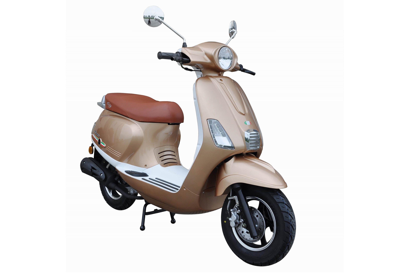 Motorroller, 50 ccm, 3 PS, 45 km/h, für 2 Personen, champagner-weiss, »Ibiza«, IVA