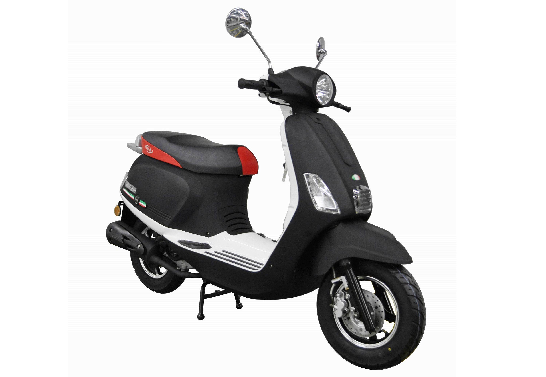 Motorroller, 50 ccm, 3 PS, 45 km/h, für 2 Personen, weiß-schwarz, »Ibiza«, IVA