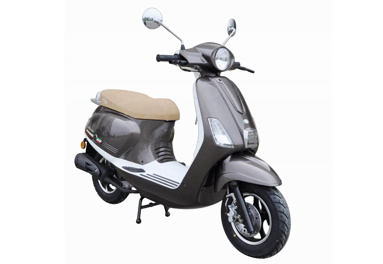 Motorroller, 50 ccm, 3 PS, 45 km/h, für 2 Personen, grau-weiss, »Ibiza«, IVA