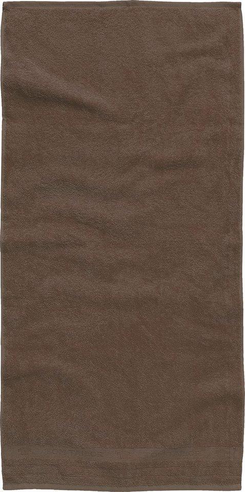 Handtücher, Tom Tailor, »Uni«, mit Logo in Bordüre in braun
