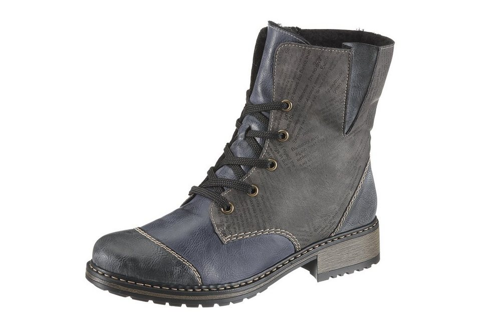 Rieker Schnürboots in taupe-blau-used