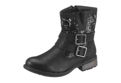 Mytrendshoe Damen Stiefeletten Stiefel Biker Boots Nieten Warm Gefüttert 70628, Farbe: Schwarz, Größe: 38