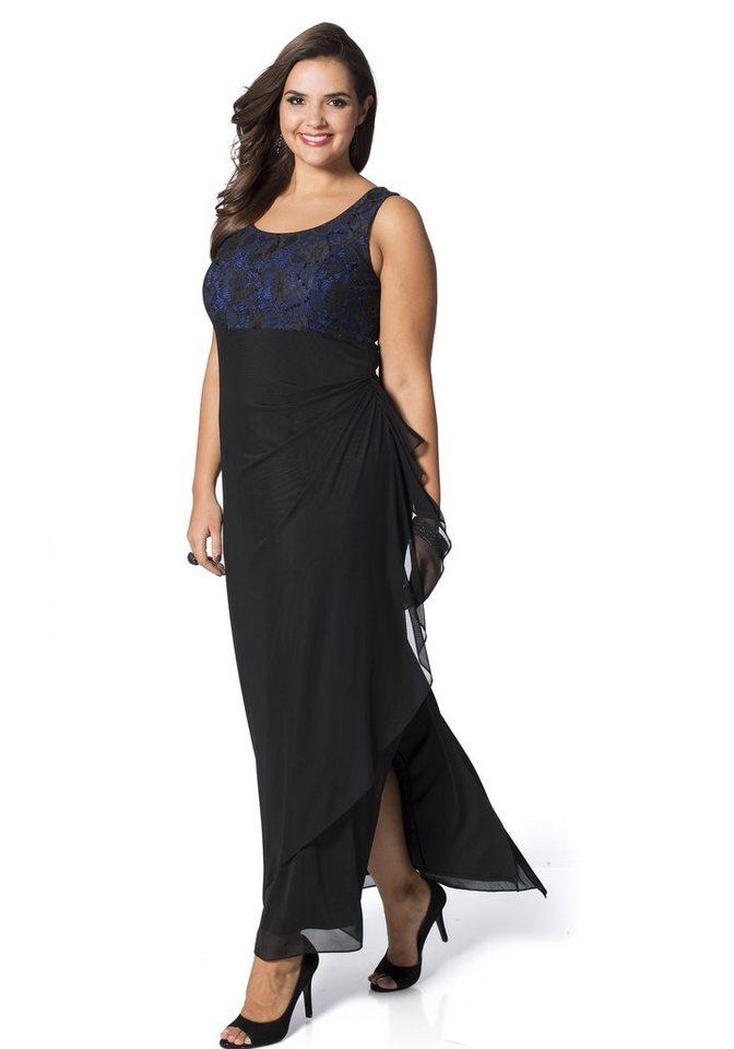 sheego Style schickes Abendkleid mit Spitze in schwarz-royalblau