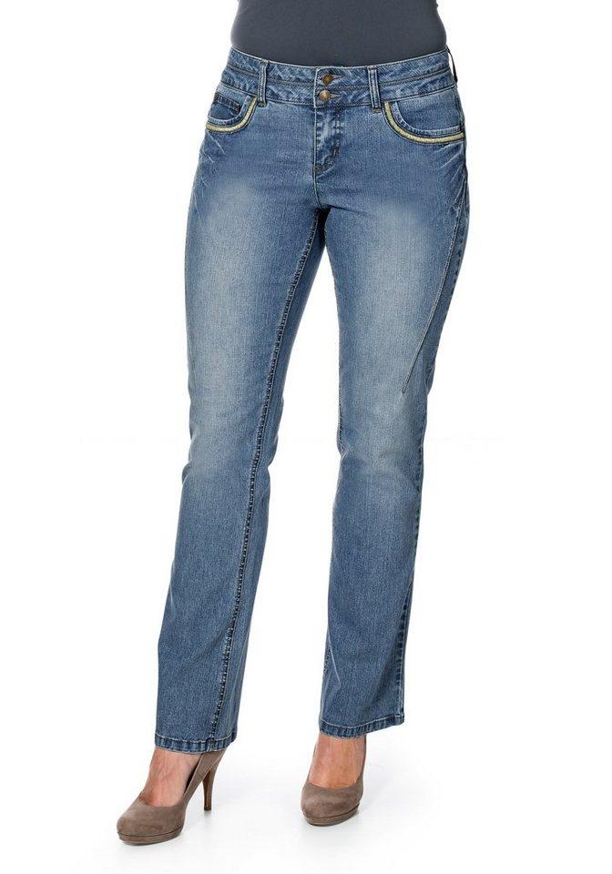 sheego Denim Bootcut-Stretch-Jeans mit Used-Effekten in light blue denim