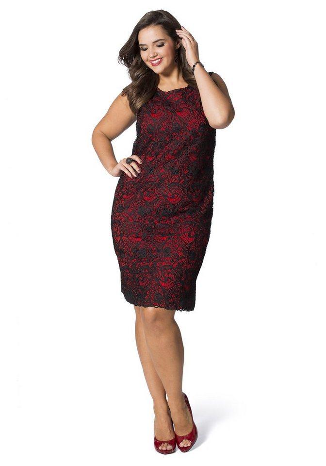 sheego Feminines Kleid in schwarz-rot