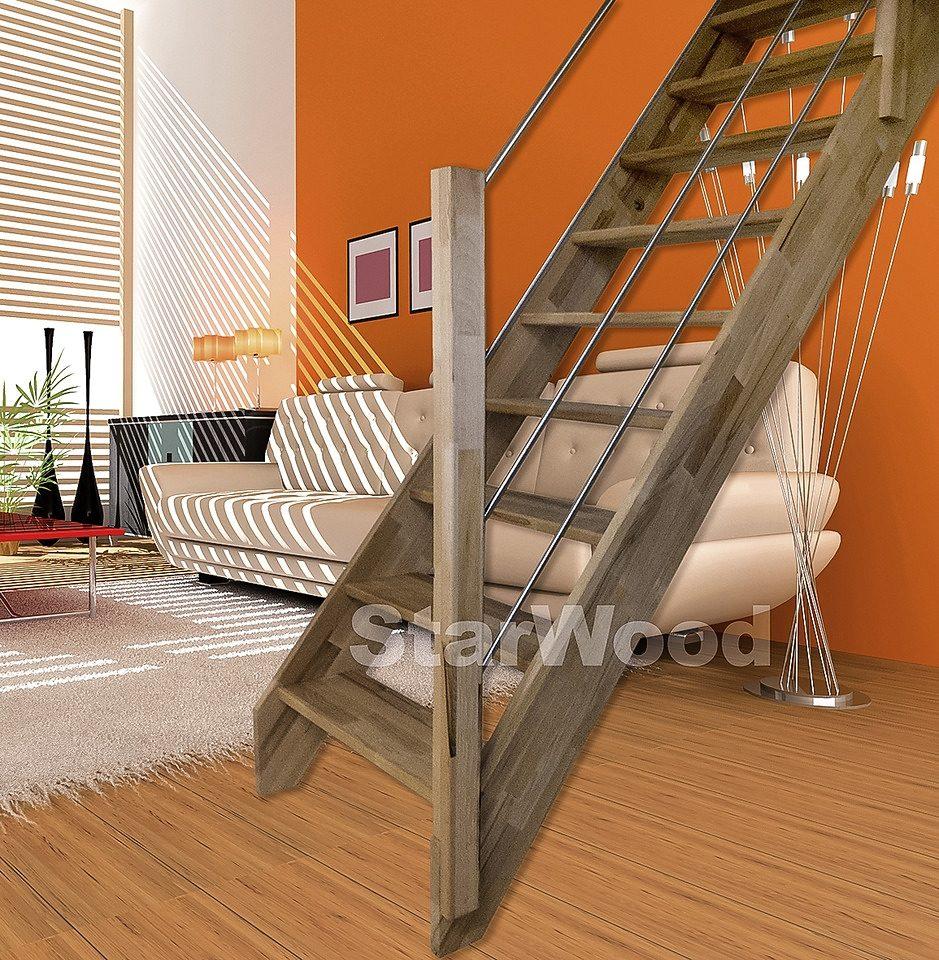 STARWOOD Raumspartreppe »Rhodos«, offene Stufen, gerade, Holz-Edelstahlgeländer rechts