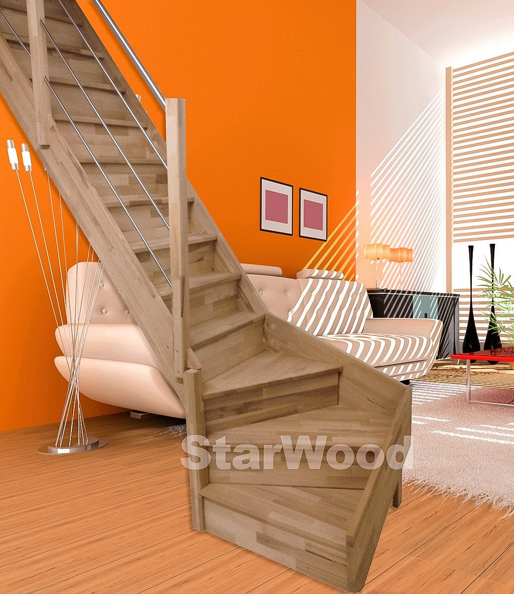 STARWOOD Raumspartreppe »Rhodos«, geschl. Stufen, 1/4 links gewendelt, Holz-Edelstahlgel. li