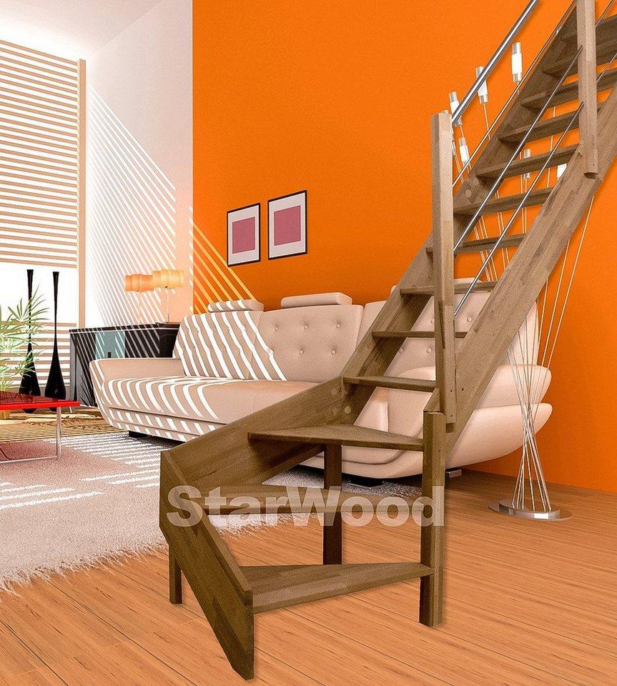 starwood raumspartreppe rhodos offene stufen 1 4 rechts gewendelt holz edelstahlgel re. Black Bedroom Furniture Sets. Home Design Ideas