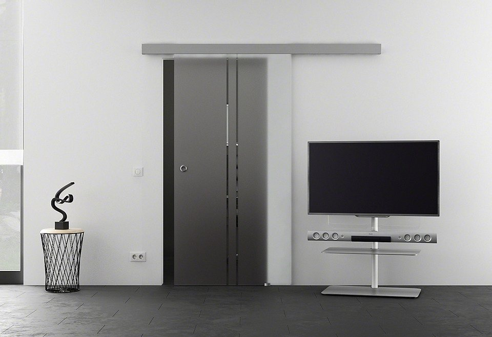 Glasschiebetür »Eco Vertikal« mit Muschelgriff in weiß