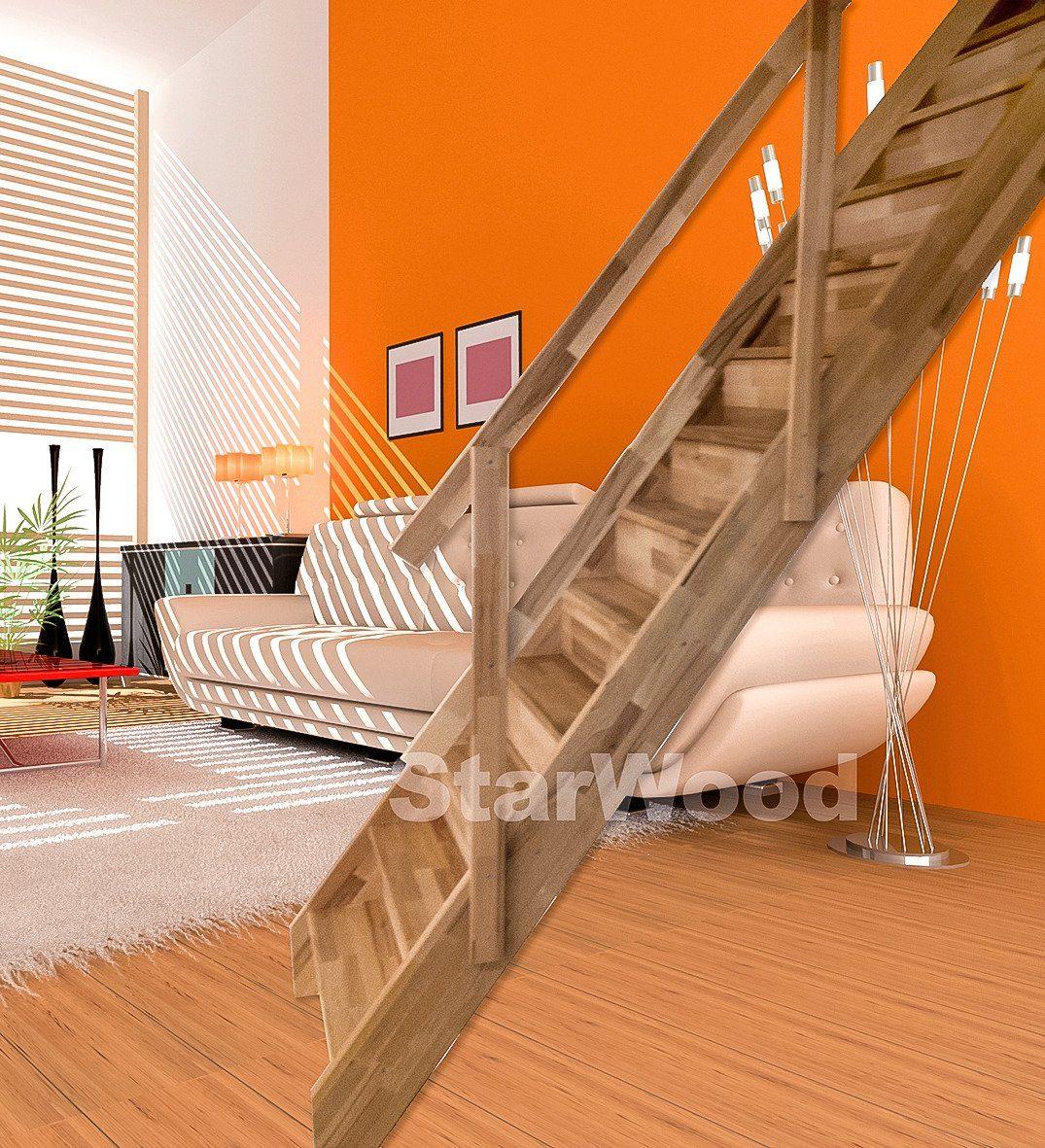 STARWOOD Raumspartreppe »Rhodos«, geschl. Stufen, gerade, Holzgeländer rechts