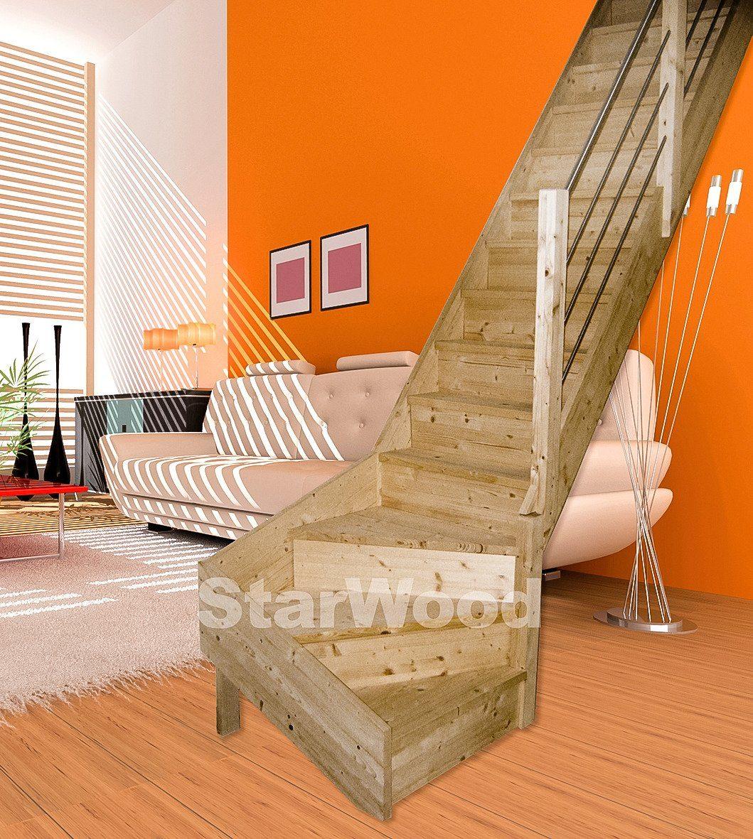 STARWOOD Raumspartreppe »Korfu«, geschl. Stufen, 1/4 rechts gewendelt, Holz-Edelstahlgel. re