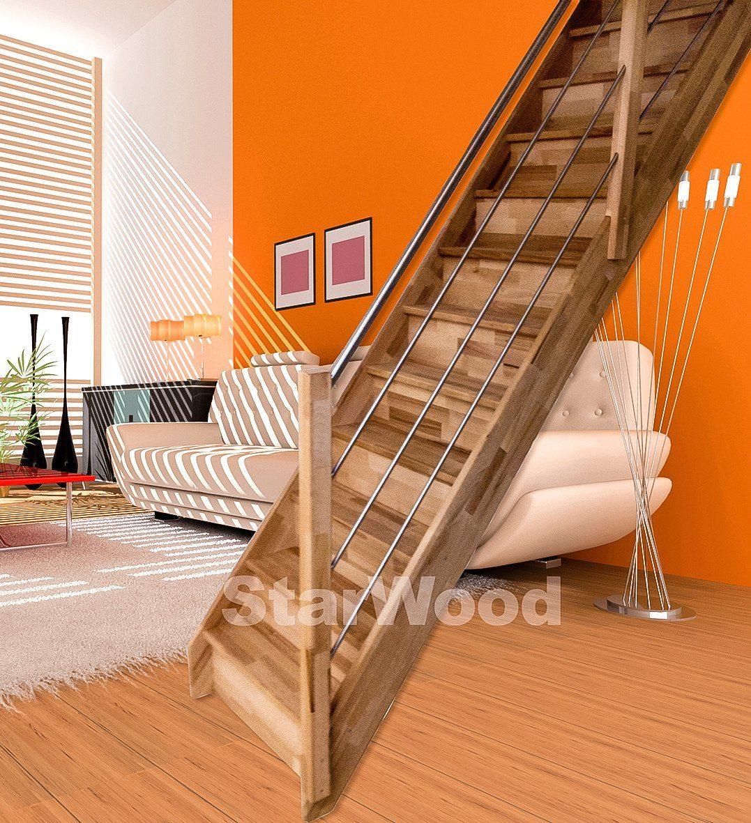 STARWOOD Raumspartreppe »Rhodos«, geschl. Stufen, gerade, Holz-Edelstahlgeländer rechts